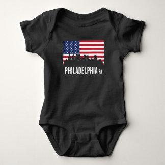 American Flag Philadelphia Skyline Baby Bodysuit