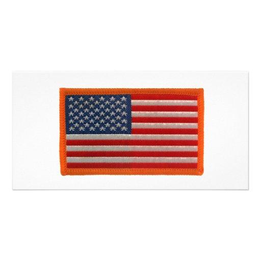 American flag custom photo card