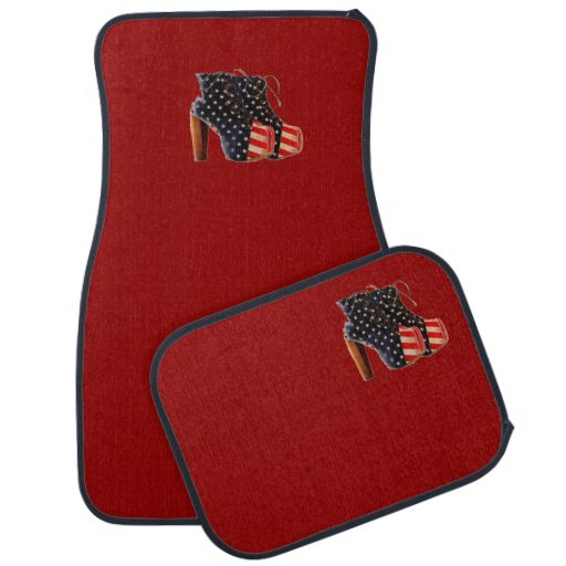 American Flag Platform Shoes Red Car Mats Floor Mat