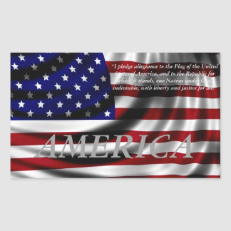 American Flag Pledge of Allegience Rectangular Sticker