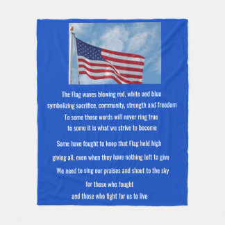 American Flag poem Fleece Blanket