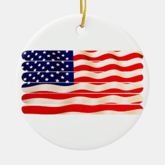 American Flag Popsicle Stick Folkart Ceramic Ornament