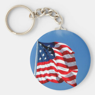 American Flag products Basic Round Button Key Ring