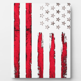 American flag Red Grunge Photo Plaques