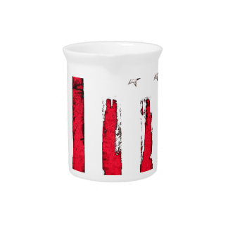 American flag Red Grunge Pitcher