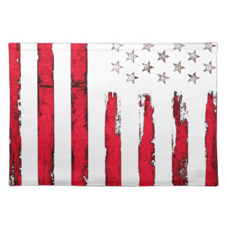 American flag Red Grunge Placemat