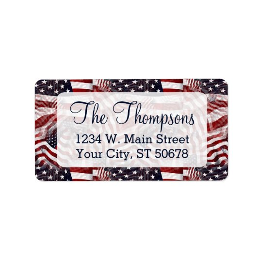 American Flag Red White Blue Stripes Stars Pattern Address Label