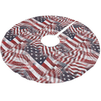 American Flag Red White Blue Stripes Stars Pattern Brushed Polyester Tree Skirt
