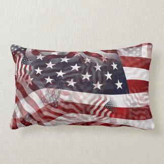 American Flag Red White Blue Stripes Stars Pattern Lumbar Cushion