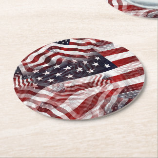American Flag Red White Blue Stripes Stars Pattern Round Paper Coaster