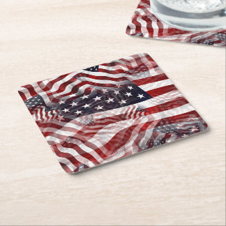 American Flag Red White Blue Stripes Stars Pattern Square Paper Coaster