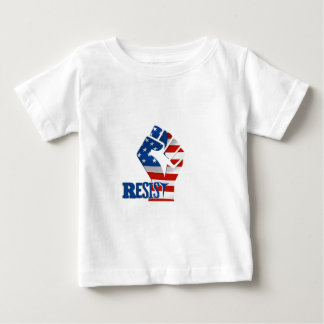 American Flag Resist Raised Fist Baby T-Shirt