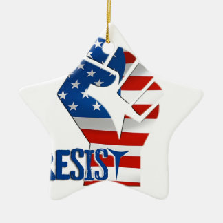 American Flag Resist Raised Fist Ceramic Ornament