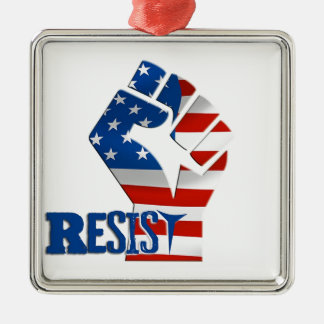 American Flag Resist Raised Fist Metal Ornament