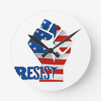 American Flag Resist Raised Fist Round Clock