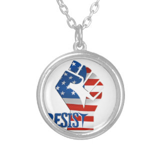 American Flag Resist Raised Fist Silver Plated Necklace
