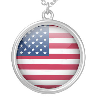 American Flag Round Sterling Silver Necklace