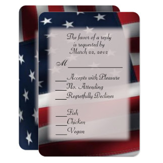 American Flag RSVP with Entree Choices Card