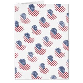 American Flag Rustic Heart Print Greeting Card