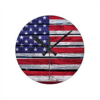 American Flag Rustic Wood Wallclock