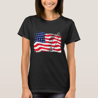 American Flag Safety Pin Symbol T-Shirt