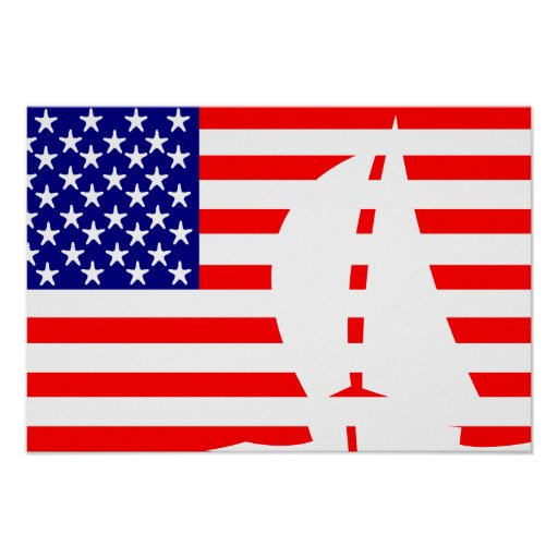 American Flag Sailing Yacht Posters
