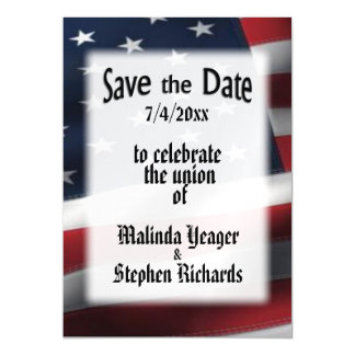 American Flag Save the Date Magnetic Card