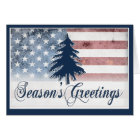 American Flag Season's Greetings Card