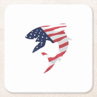 American Flag Shark Square Paper Coaster