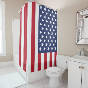 American Flag Shower Curtain or Your Image, Text