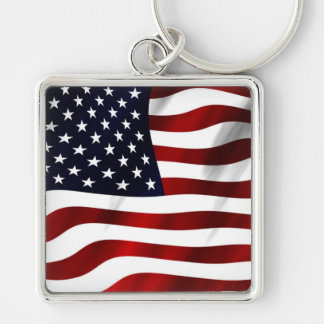 American Flag Silver-Colored Square Key Ring