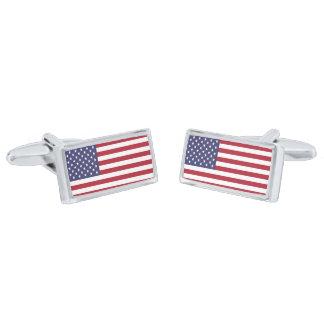 """AMERICAN FLAG"" SILVER FINISH CUFF LINKS"