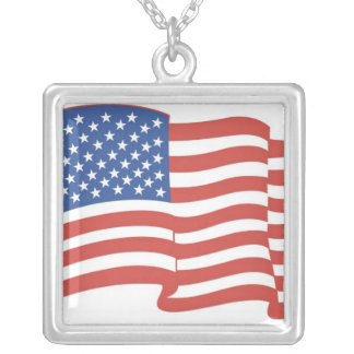 AMERICAN FLAG  SILVER NECKLACE