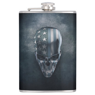 American Flag Skull 8 oz Vinyl Wrapped Flask