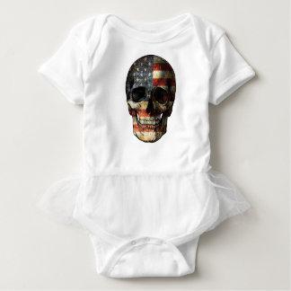 American flag skull baby bodysuit