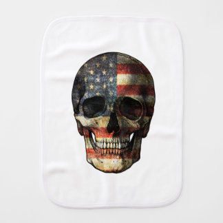 American flag skull burp cloth