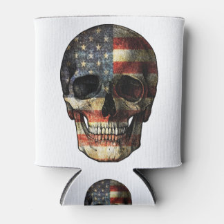 American flag skull can cooler