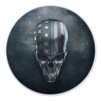 American Flag Skull Ceramic Knob