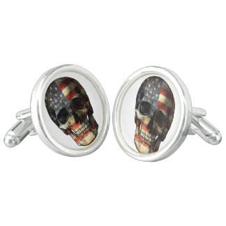 American flag skull cuff links