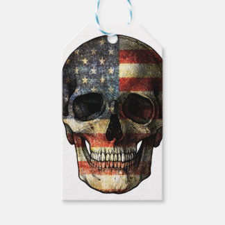 American flag skull gift tags