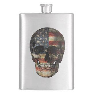 American flag skull hip flask