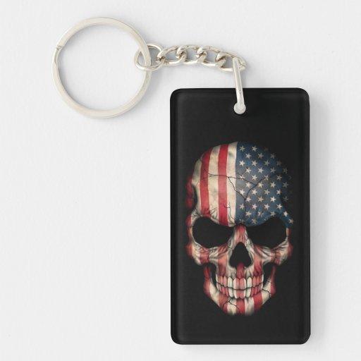 American Flag Skull on Black Rectangular Acrylic Keychains