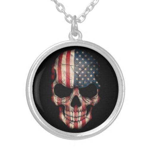 American Flag Skull on Black Custom Necklace