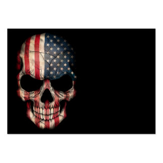 American Flag Skull on Black Pack Of Chubby Business Cards