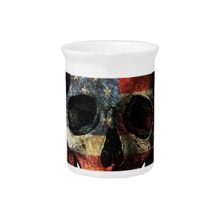 American flag skull pitcher