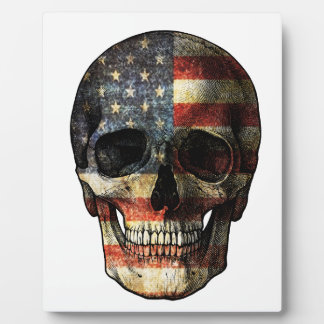 American flag skull plaque
