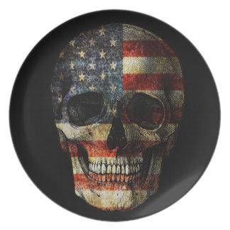 American flag skull plate