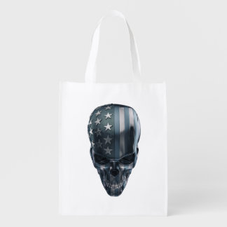 American Flag Skull Reusable Grocery Bag