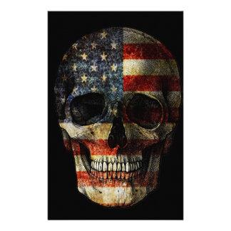 American flag skull stationery