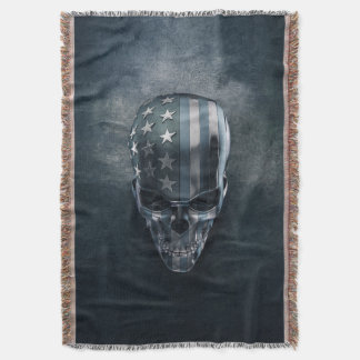 American Flag Skull Throw Blanket